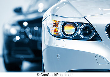 Car head lamp - Close up shot of car head lamp in blue color...
