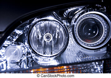 Car headlight close-up
