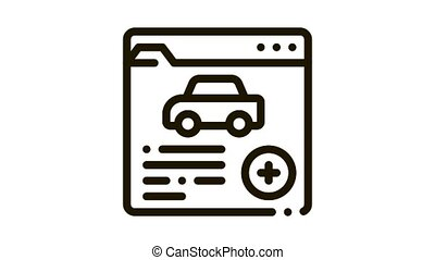 car health insurance Icon Animation. black car health insurance animated icon on white background