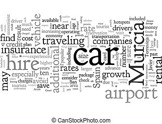 Car Hire Services In Murcia Spain text background wordcloud concept