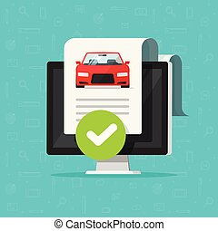 Car history check or report document approved on computer vector, good vehicle electronic diagnostic or automobile monitoring service passed, flat cartoon auto test and checkmark or tick on pc