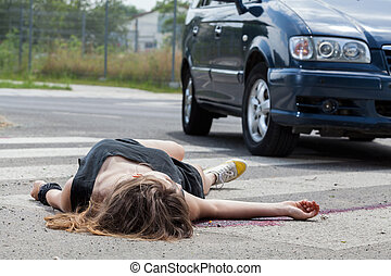 Car hit young woman - Horizontal view of car hit young woman