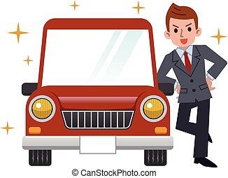car, homem negócios, comprado, novo