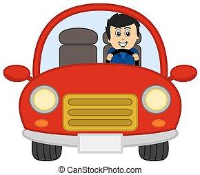 car, homem, terno vermelho