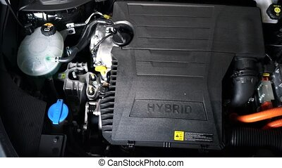 Car hybrid engine detail closeup