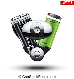 Car hybrid engine with battery and motor. Vector illustration isolated on white background.