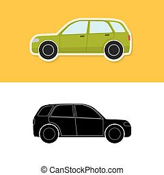 Car icon and silhouette