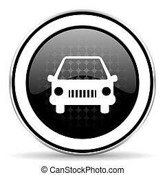 car icon, black chrome button, auto sign