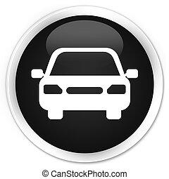 Car icon black glossy round button