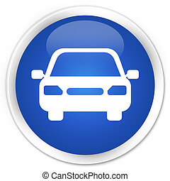 Car icon blue glossy round button