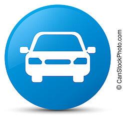 Car icon cyan blue round button