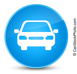 Car icon elegant cyan blue round button