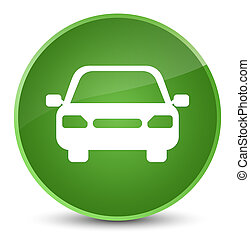 Car icon elegant soft green round button