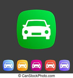 Car icon flat web sign symbol logo label