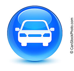 Car icon glassy cyan blue round button