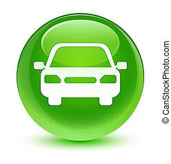 Car icon glassy green round button