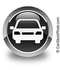 Car icon glossy black round button
