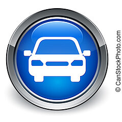 Car icon glossy blue button