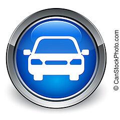 Car icon glossy blue button