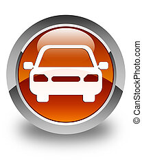 Car icon glossy brown round button