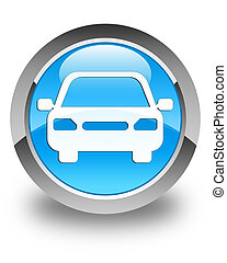Car icon glossy cyan blue round button