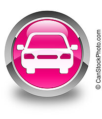 Car icon glossy pink round button