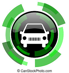 car icon, green modern design isolated button, web and mobile app design illustration