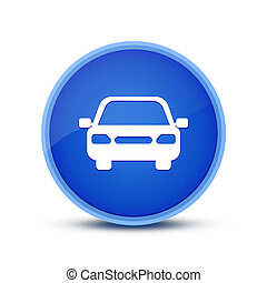 Car icon isolated on glassy blue round button abstract