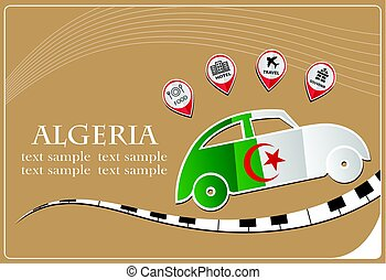 car icon made from the flag of Algeria