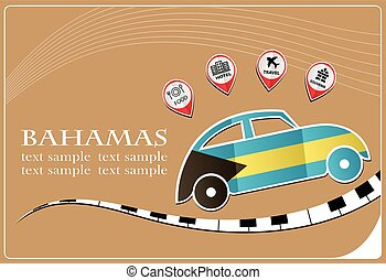car icon made from the flag of Bahamas