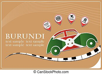 car icon made from the flag of burundi