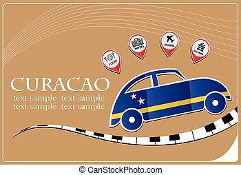 car icon made from the flag of Curacao