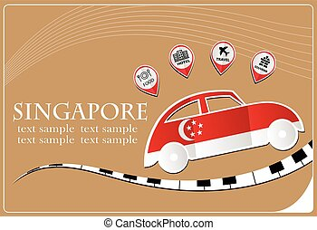 car icon made from the flag of Singapore
