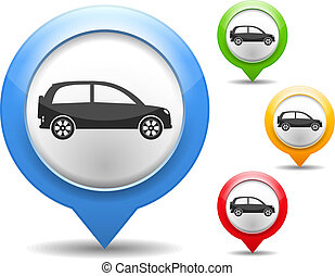 Car Icon - Map marker with icon of a car, vector eps10...