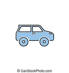 Car icon on white. Vector illustration modern flat style
