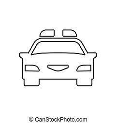 car, icon., polícia, esboço, linear