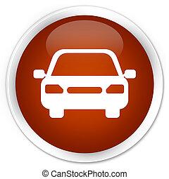Car icon premium brown round button