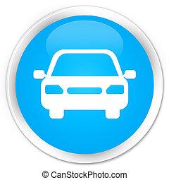 Car icon premium cyan blue round button