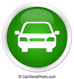 Car icon premium green round button