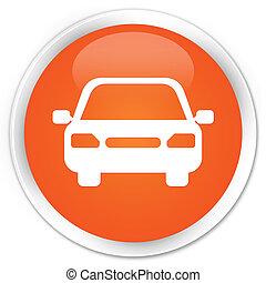 Car icon premium orange round button