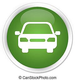 Car icon premium soft green round button
