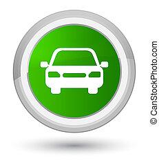 Car icon prime green round button