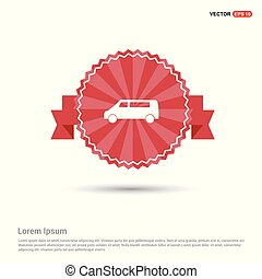 Car icon - Red Ribbon banner