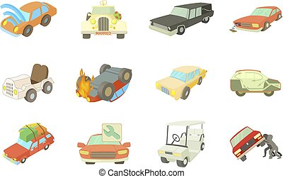 Car icon set, cartoon style