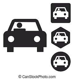 Car icon set, monochrome