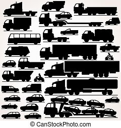 Car Icon Set. Side View Silhouettes