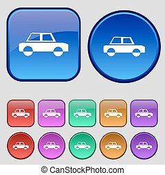 Car icon sign. A set of twelve vintage buttons for your design. Vector