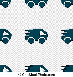 Car Icon sign. Seamless pattern with geometric texture. Vector