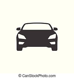Car icon - simple flat design isolated on white background, vector
