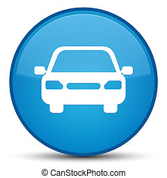 Car icon special cyan blue round button